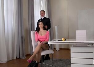 Asian secretary blowjob
