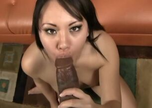 Asian black blowjob